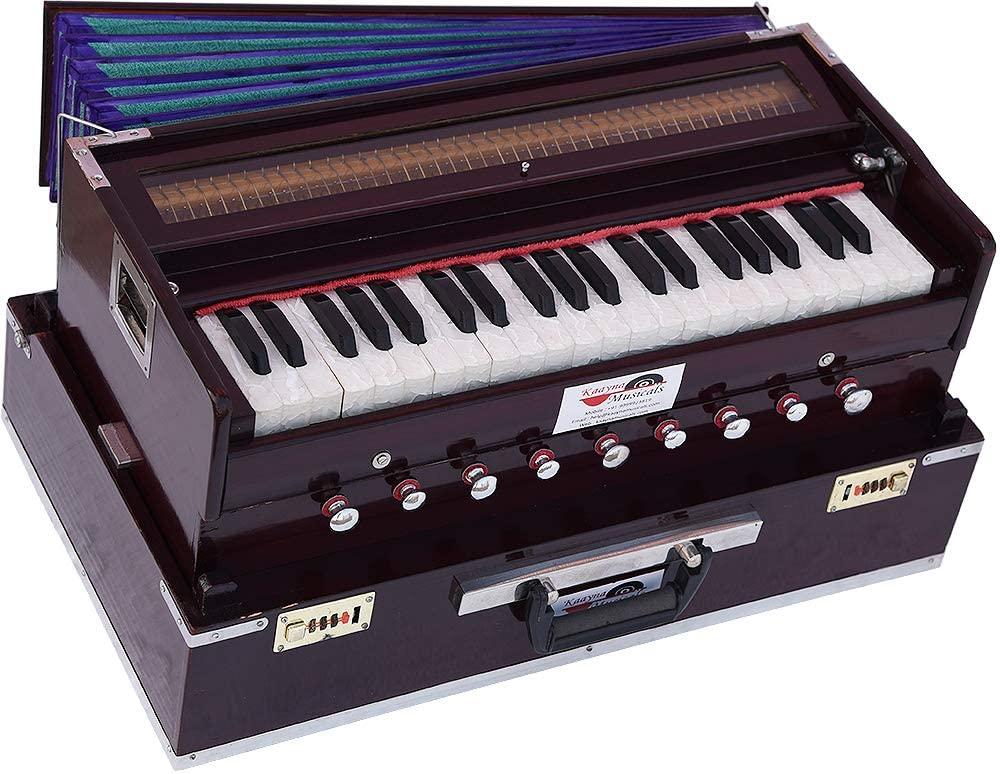 Harmonium Traveler/Portable/Folding Type By Kaayna Musicals, 9 Stops- 5 Main & 4 Drone, 3½ Octaves, Coupler, Dark Colour, Gig Bag, Bass-Male Reed - 440 Hz, Suitable for Yoga, Bhajan, Kirtan, Mantra