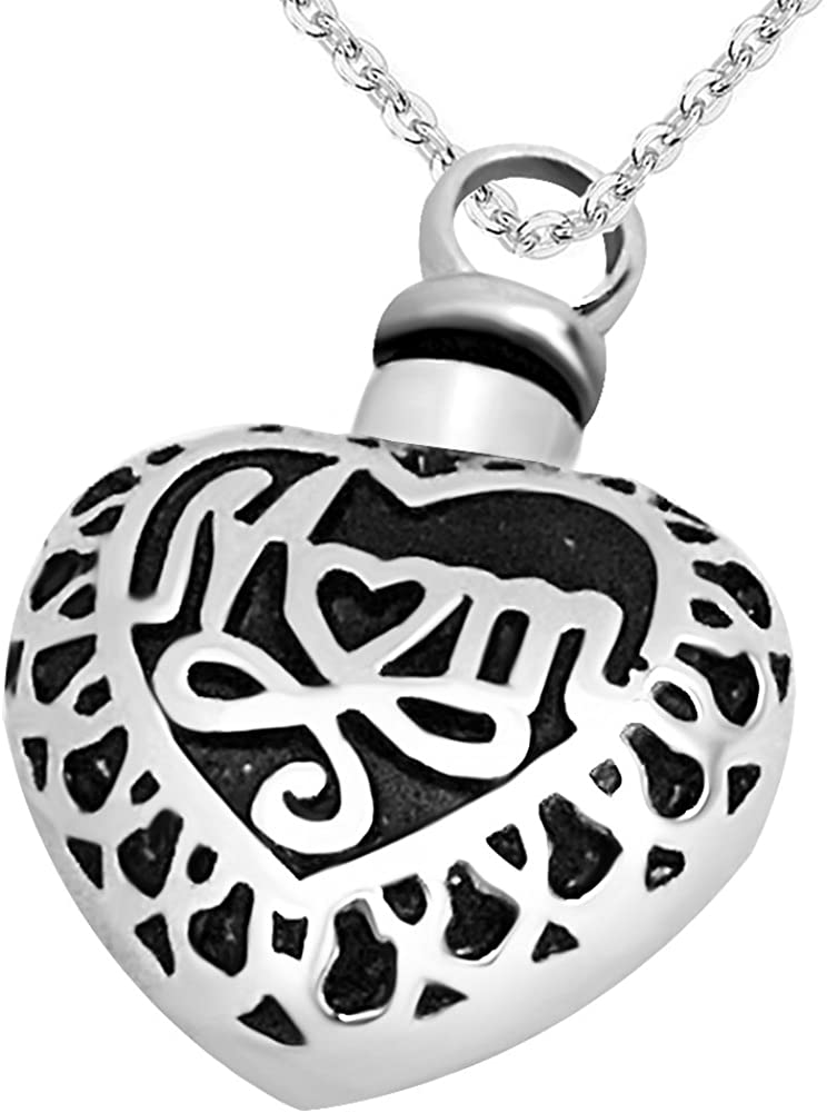 JMQJewelry Heart Urn Dad/Mom Cremation Necklace Memorial Ashes Keepsake Jewelry Pendant