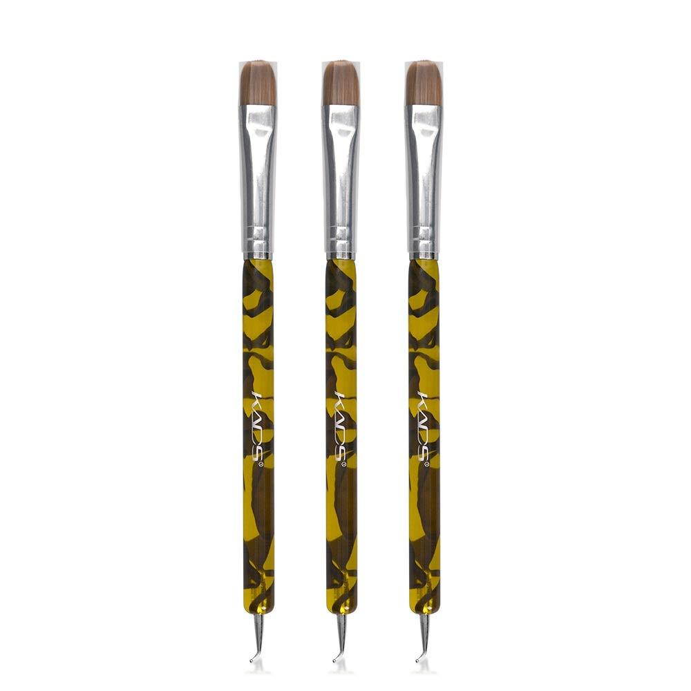 KADS 3pcs/set Kolinsky Sable Brush 2 Way Acrylic Professional French Manicure Clean-up Brush Nail Art Brush Bend Nail Dotting Pen