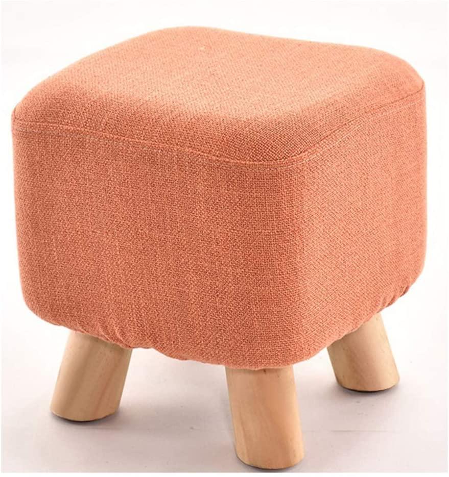 LXU Multifunction Upholstered Footstool, Pouffe Wooden Legs Square 4 Legs,Orange
