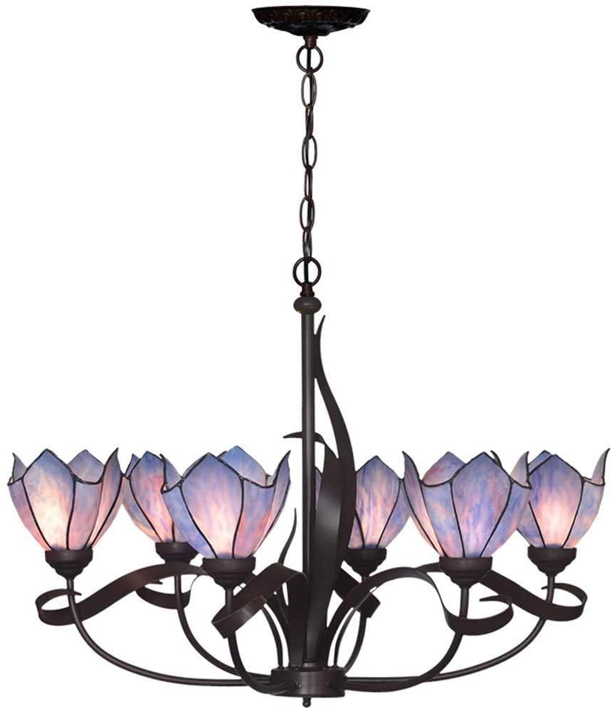 DIMPLEYA Tiffany Purple Sixheaded Stained Glass Chandelier Living Room