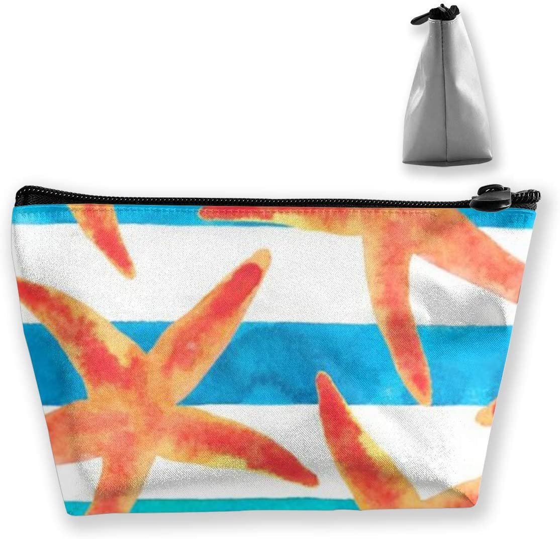Trapezoidal Storage Bag Starfish Double Print Handbag Coin Purse Cosmetic Pouch Wallet Pencil Holder