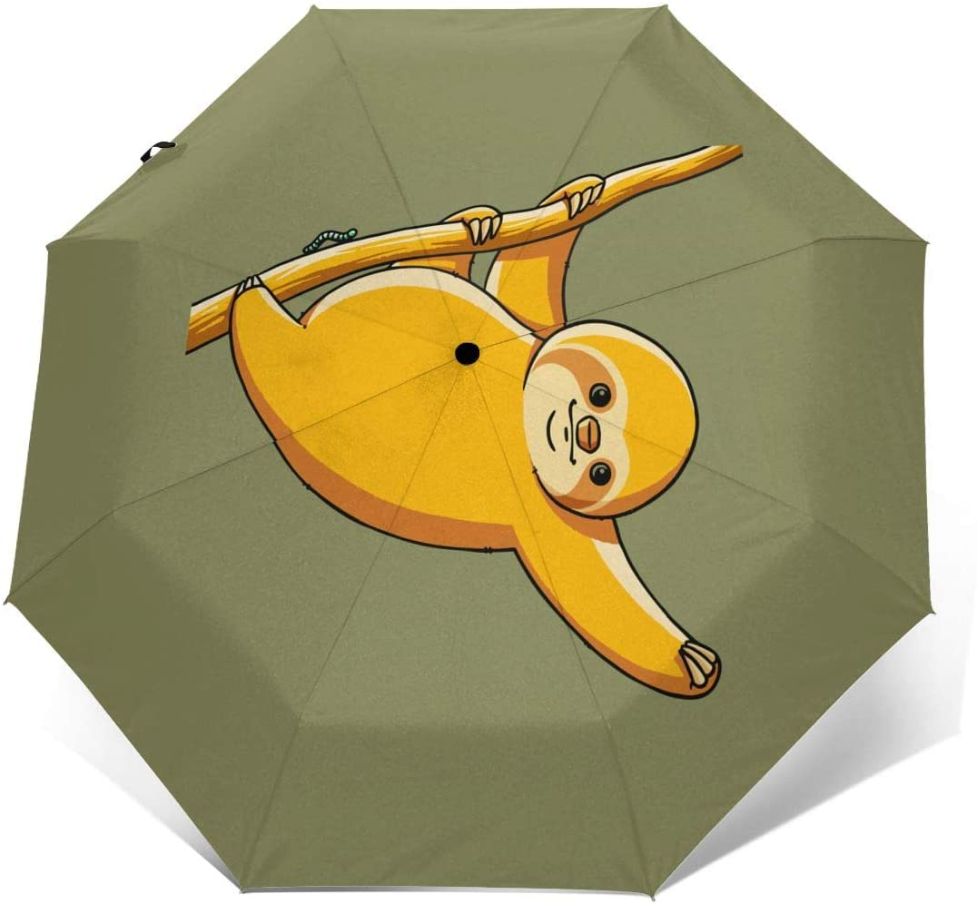 Funny Fat Sloth Windproof Automatic Folding Umbrella Tri-fold Umbrella