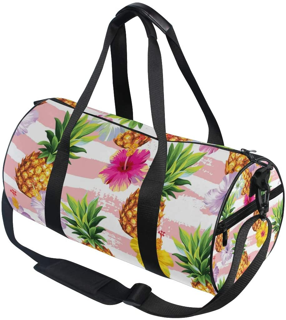 A Seed Sports Duffel Bag Pineapple Floral Flower Tropical Pink Gym Travel Bag