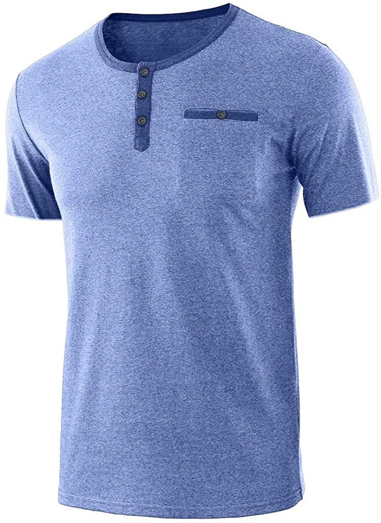 HTHJSCO Men's Henley T Shirt Short Sleeve Fashion Round Neck Button Slim Fit Tops Blouse Lightweight Basic Blouse