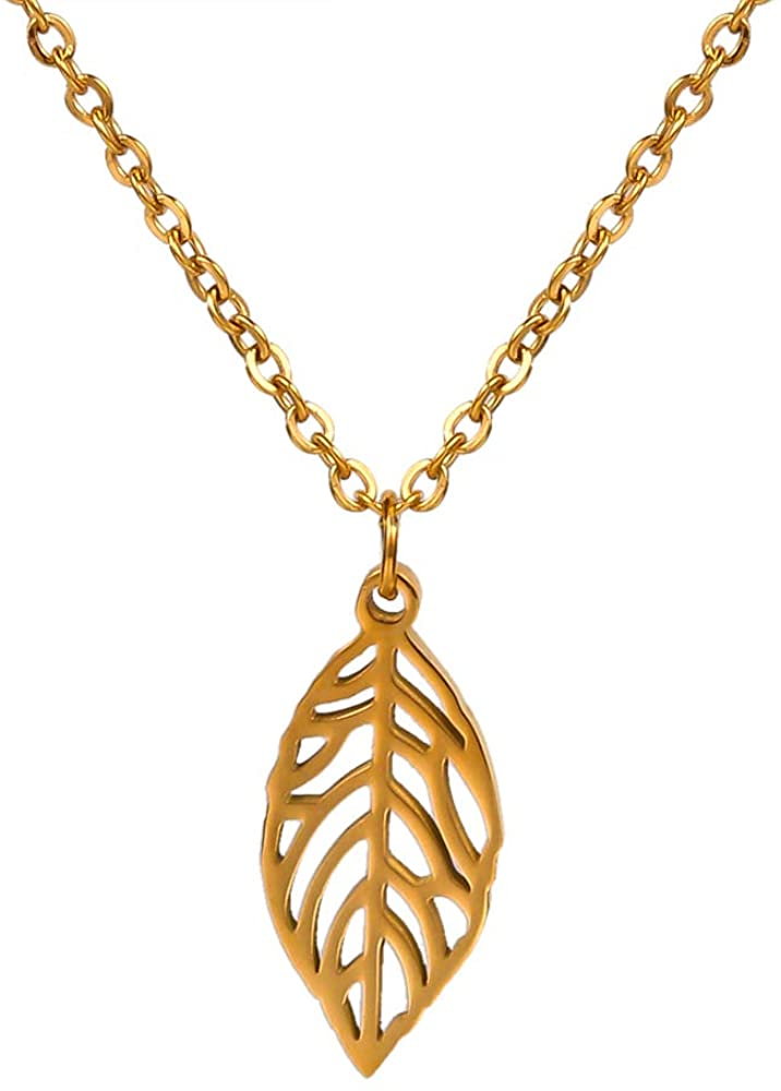 Stainless Steel IP Plated Petite Leaves Charm Necklace for Girls 18 Anti-tarnishing (Gold)