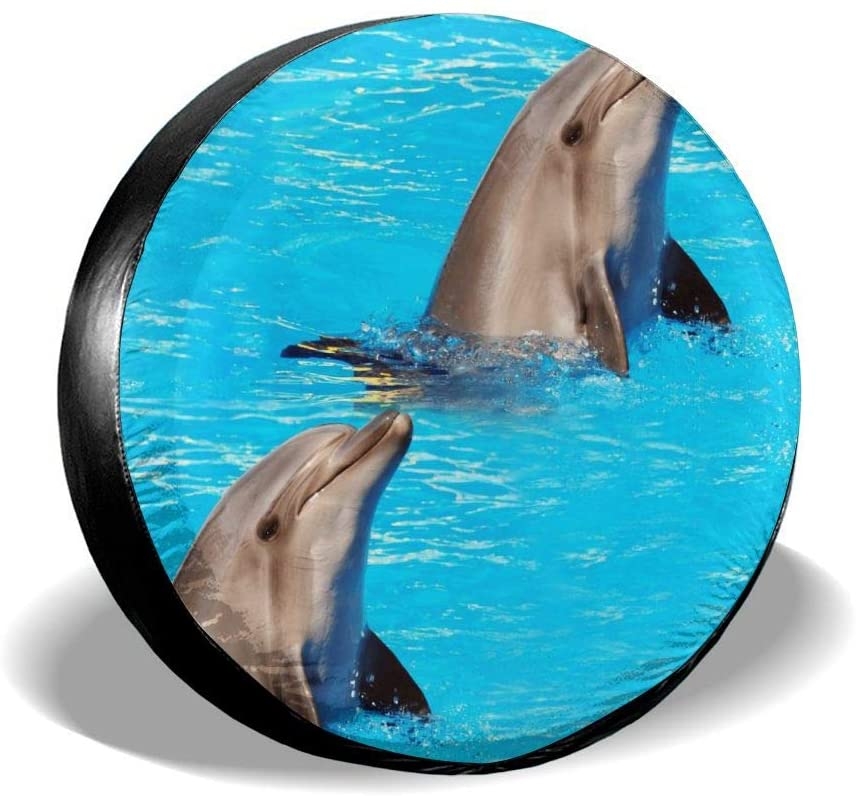 Bomini Spare Tire Cover Cute Dolphin Wheel Waterproof SUV Campers Travel Rv Cars Accessories 14 15 16 17inch