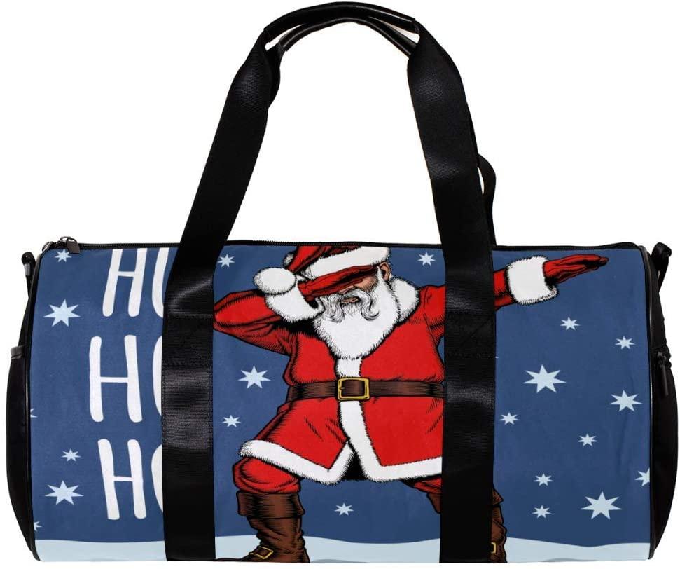 LEVEIS Merry Christmas Santa Claus Travel Tote Duffel Bag Carry on Bag Weekender Gym Bag For Men & Women