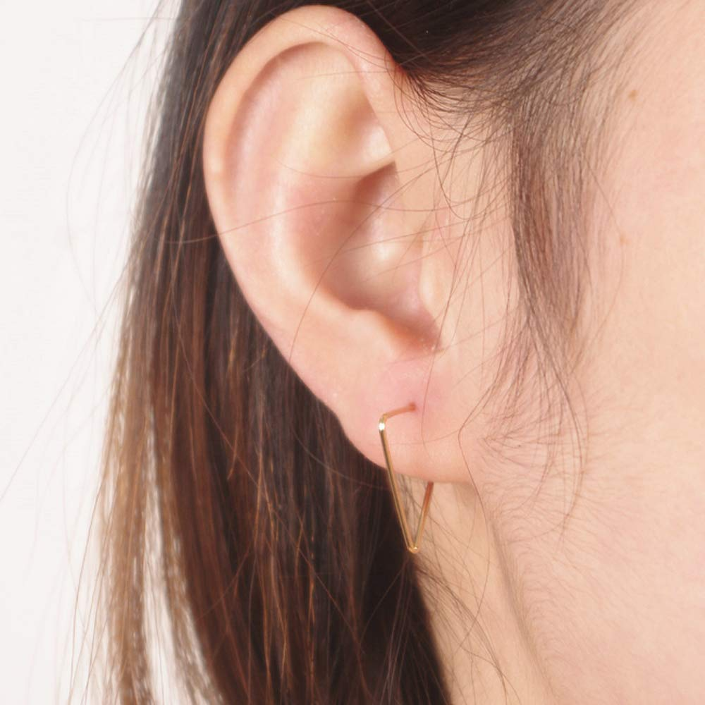 A&C Fashion Korean Version Triangle Shape Ear Line for Women. Unique Handmade Earrings Jewelry for Girl.(Gold)