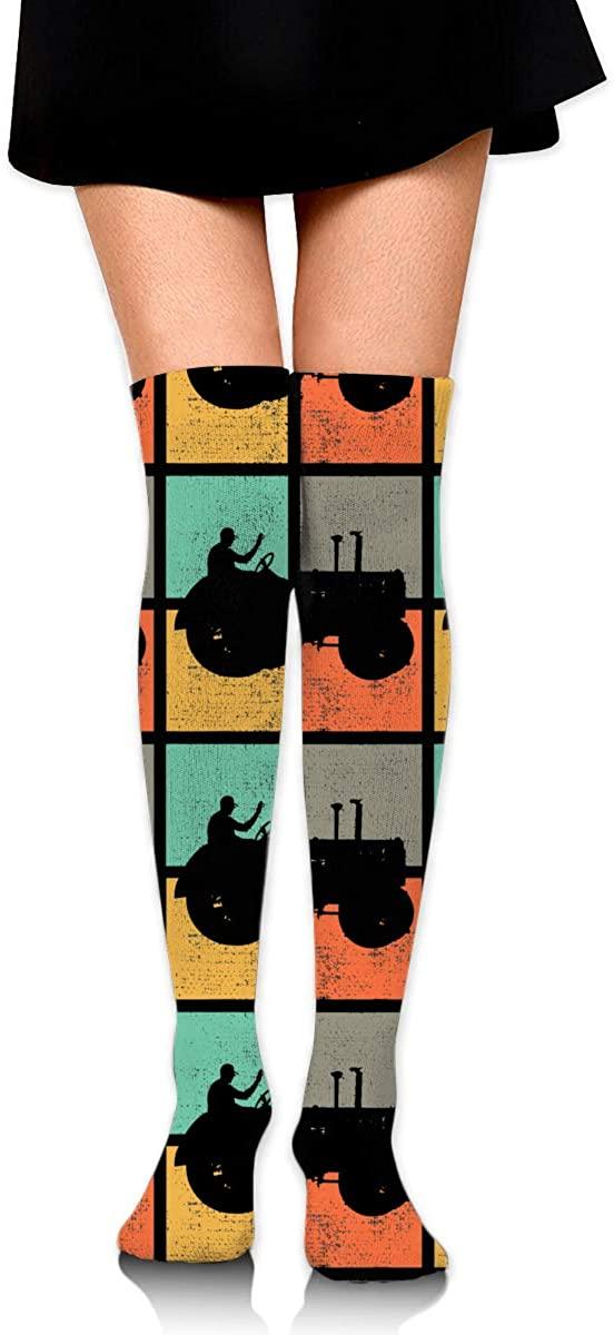 Tractor Retro Vintage. Women Knee High Socks Thigh Long Tube Stockings