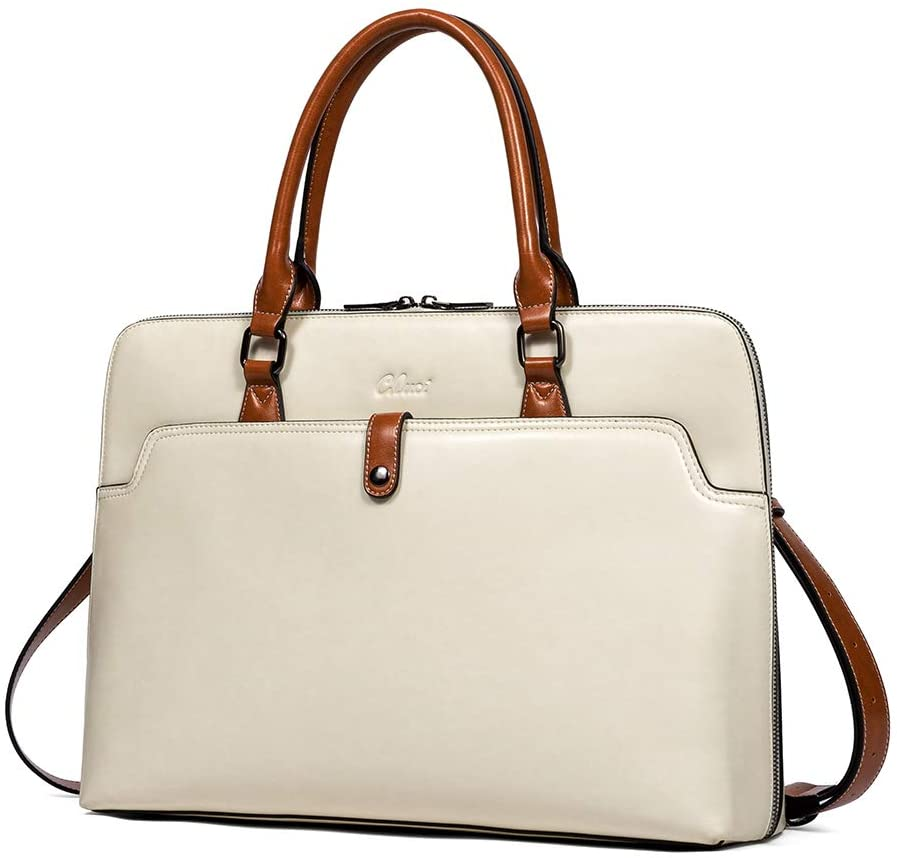 CLUCI Briefcase for Women Oil Wax Leather 15.6 Inch Laptop Slim Business Large Capacity Ladies Shoulder Bags Beige with Brown