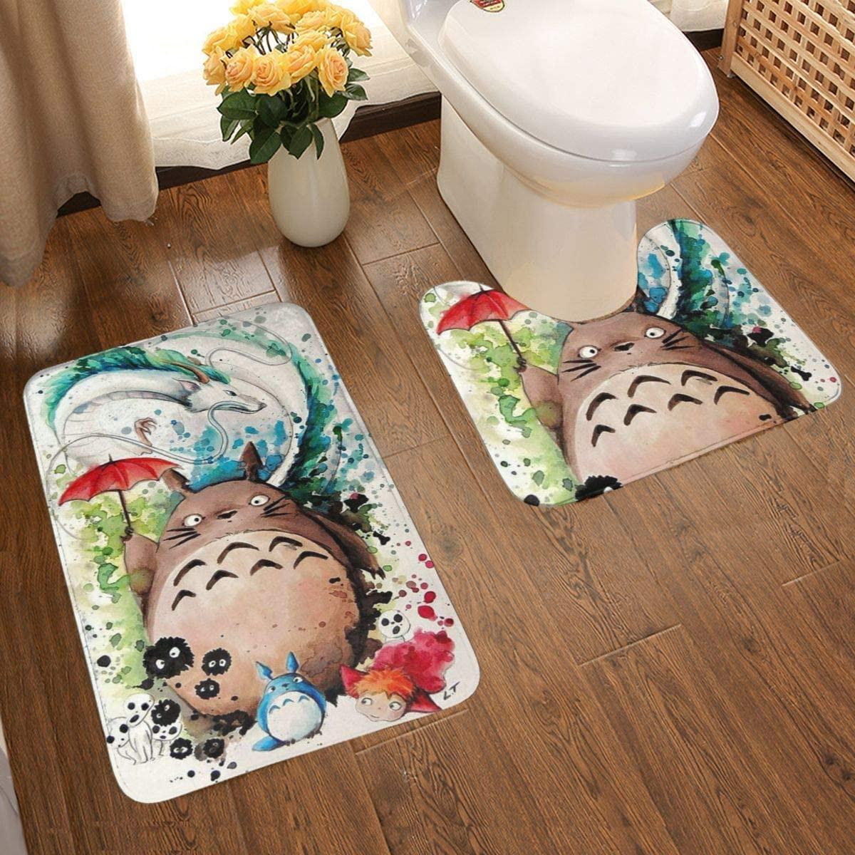 Cute Totoro Dry Fast Carpets Bathroom Rug Mat + Bath Rug Non Slip Contour Two-Piece Carpet 50 x 80 cm