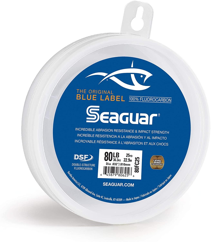 Seaguar 80FC25 Blue Label Saltwater Fluorocarbon Line, .032 Diameter, 80 Lb Tested, 25 yd, Clear