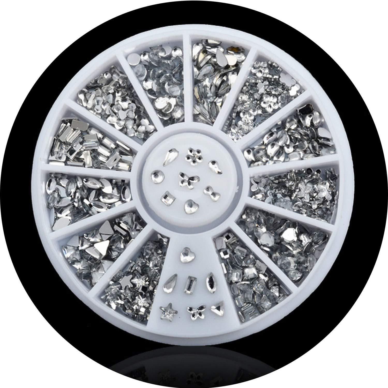 Nail Art Wheel Tips Crystal Glitter Rhinestone 3D Nail Art Decoration white AB Color Acrylic Diamond Drill,047
