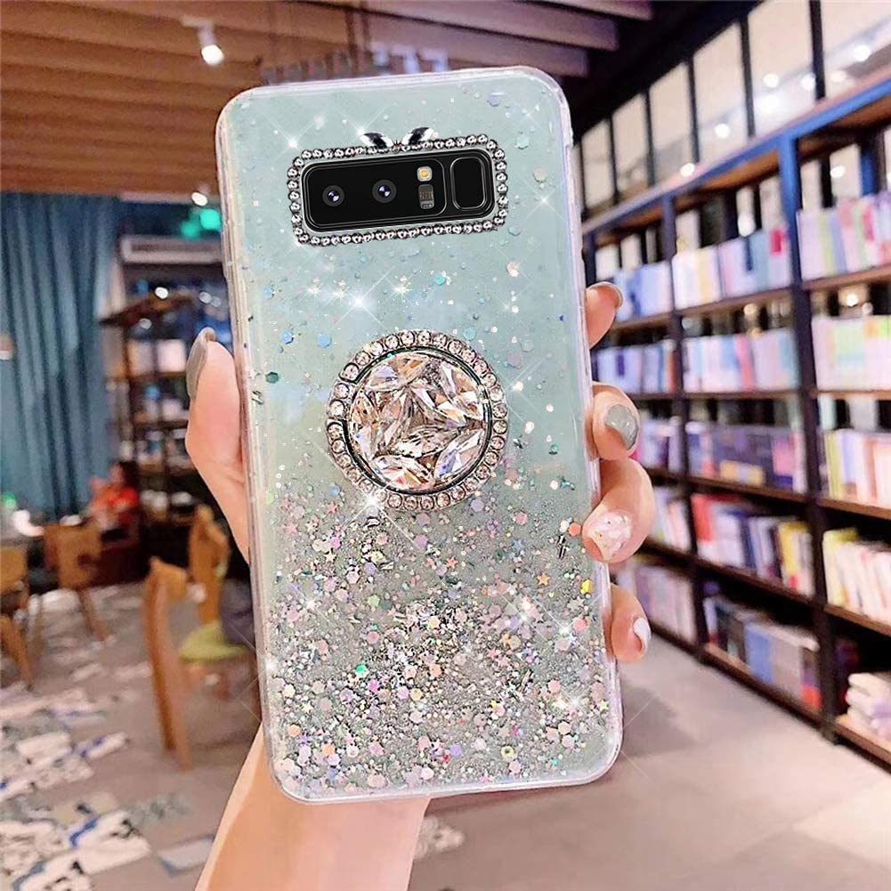 PHEZEN Galaxy Note 8 Case Bling Glitter Clear Sparkle Case for Women Girls,Shiny Star Slim Soft Silicone Gel TPU Rubber Bumper Phone Case Cover with Ring Kickstand for Samsung Note 8,Green