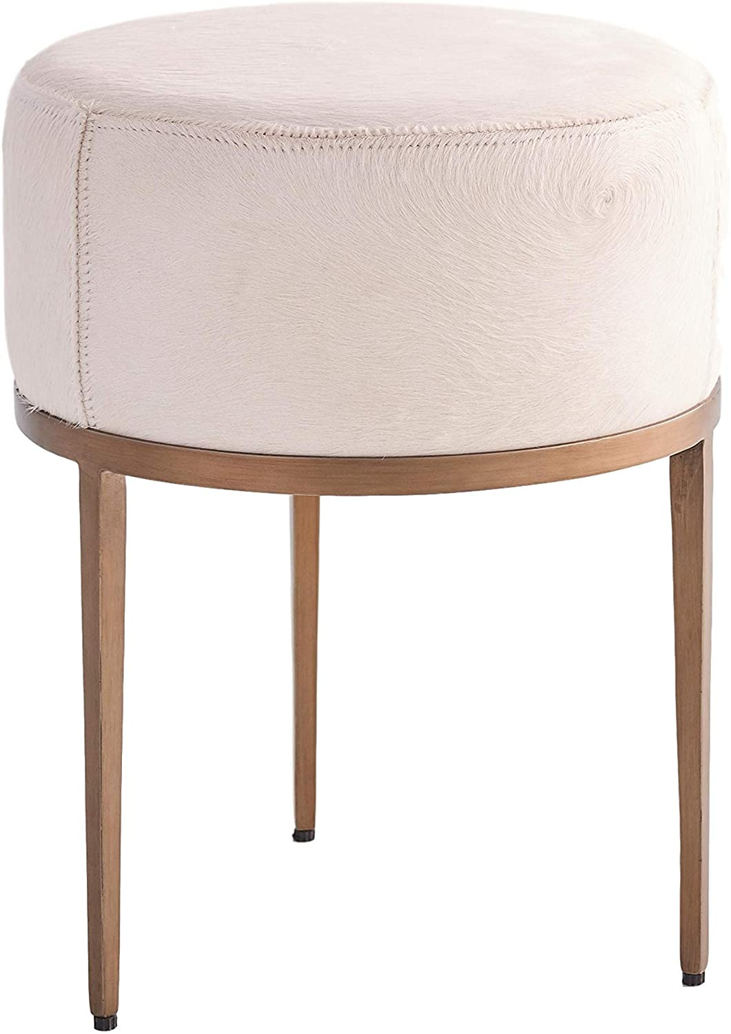 Global Views Luxe Modern Minimalist Ivory Hair Hide Stool | Leather Round Iron Thick Cushion