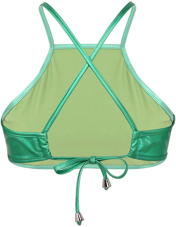 iiniim Womens Shiny Metallic Back Cross Self Tie Up Camisole Bra Tops Vest Crop Tops