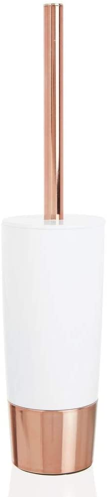 mDesign Decorative Compact Freestanding Plastic Toilet Bowl Brush and Holder for Bathroom Storage and Organization - Metal Handle/Base - Space Saving, Sturdy, Deep Cleaning - White/Rose Gold