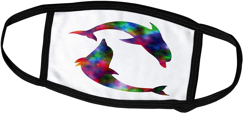 3dRose Russ Billington Designs - A Pair of Rainbow Colored Dolphins - Face Masks (fm_261807_1)