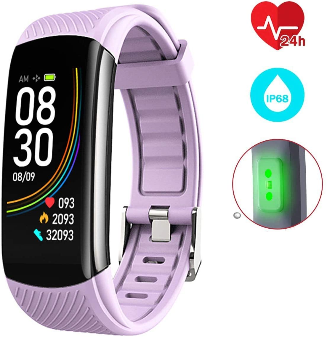 GUANLIAN Fitness Tracker, Activity Tracker with Heart Rate Monitor IP68 Waterproof Fitness Watch with Color Screen Sleep Monitor, Calorie Counter Smart Pedometer (Color : Purple)
