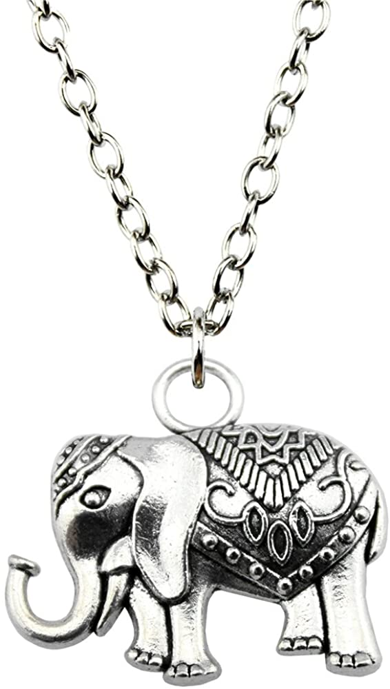 NEWME Double Sided Elephant Charms Metal Chain Necklace For Souvenir Jewelry Kraftpaper Box Gifts