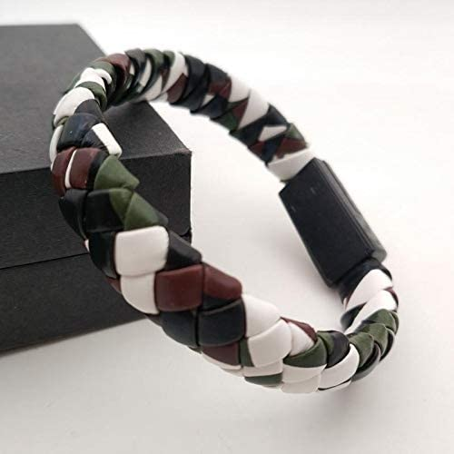 BMWY Fast USB Micro Cable, Pu Leather Extension Cable, Woven USB Extension Cable Personalized Braided Data Cable Charging Bracelet (Metal Color : Camouflage 1)
