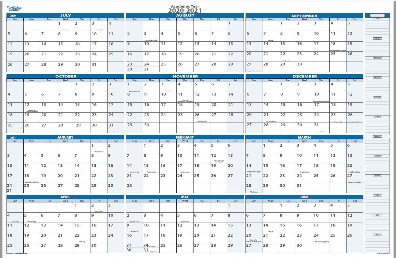 Academic Dry and Wet erasable Wall Calendars by PlanetSafe Calendars (2020-2021 Sky Blue Horizontal 38 x 58)