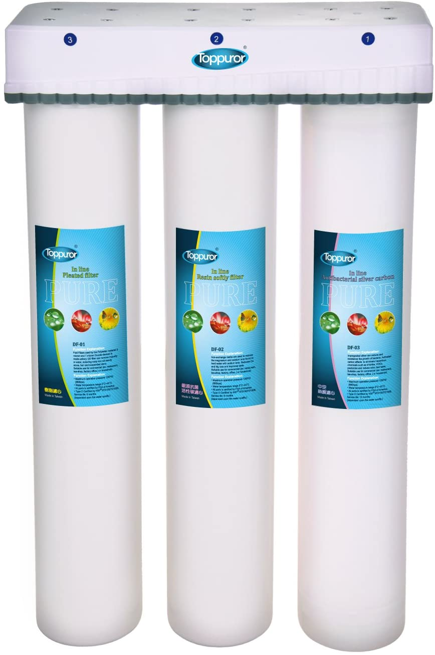Toppuror TPR-WS02 DIY Commercial Quick Change 3 Stage Drinking Water Filtration System Free plug in and No Wastewater