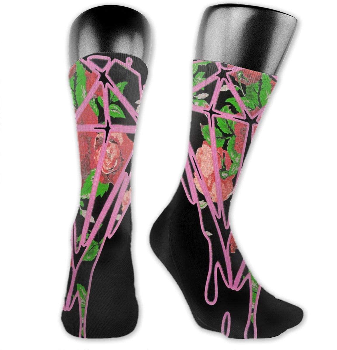 Roses Dripping Diamond Unisex Outdoor Long Socks Sport Athletic Crew Socks Stockings