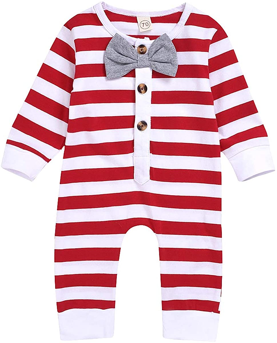 Infnat Newborn Baby Girls Boys Christmas Outfit Stripe Bowtie Button One-Piece Romper Jumpsuit Red Clothes 0-24 M