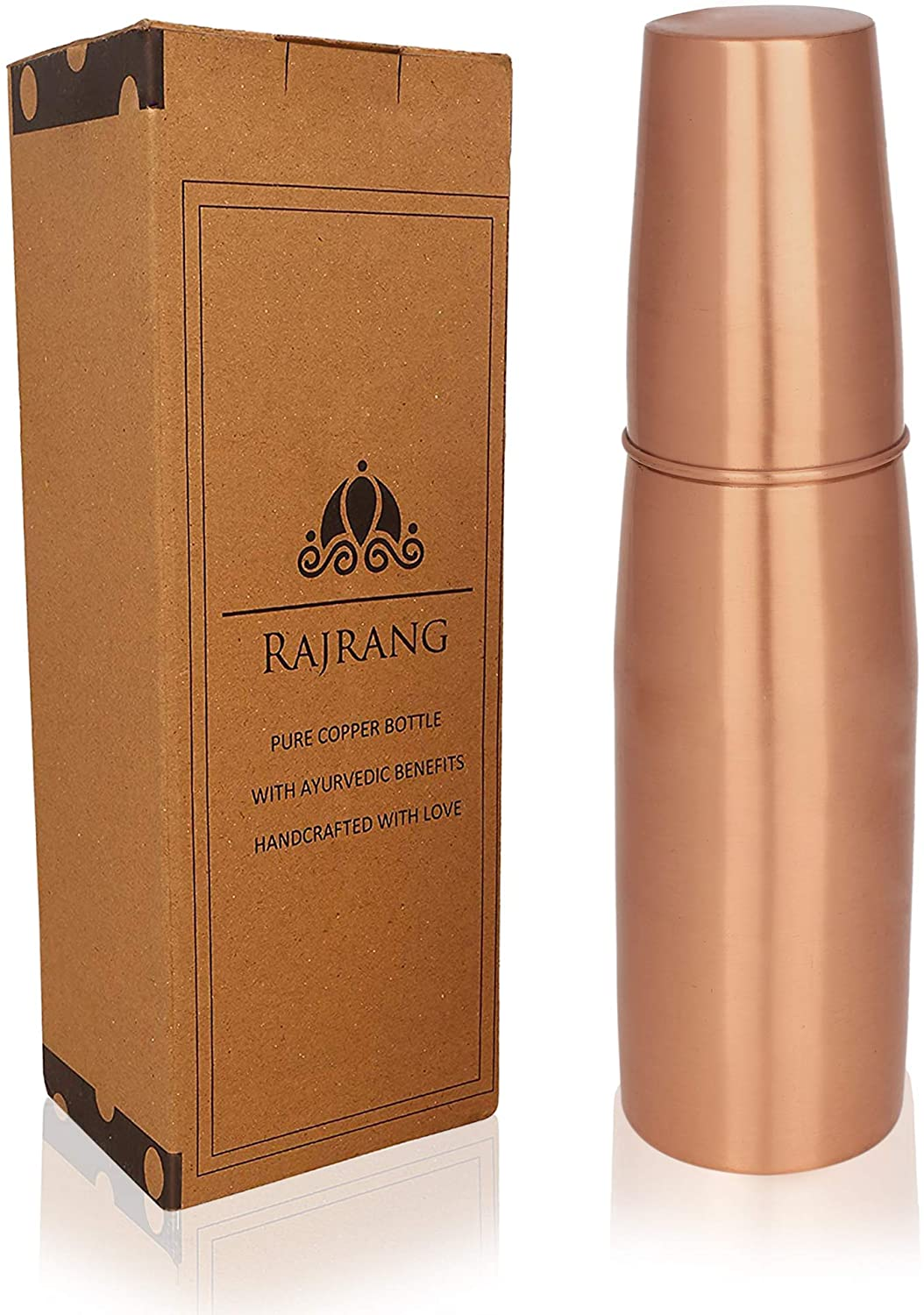 RAJRANG BRINGING RAJASTHAN TO YOU Yoga Water Bottle with Glass 950 ml Leak Proof for Ayurvedic Health Benefits Pure Copper Bottles for Travelling Purpose & Home & Kitchen