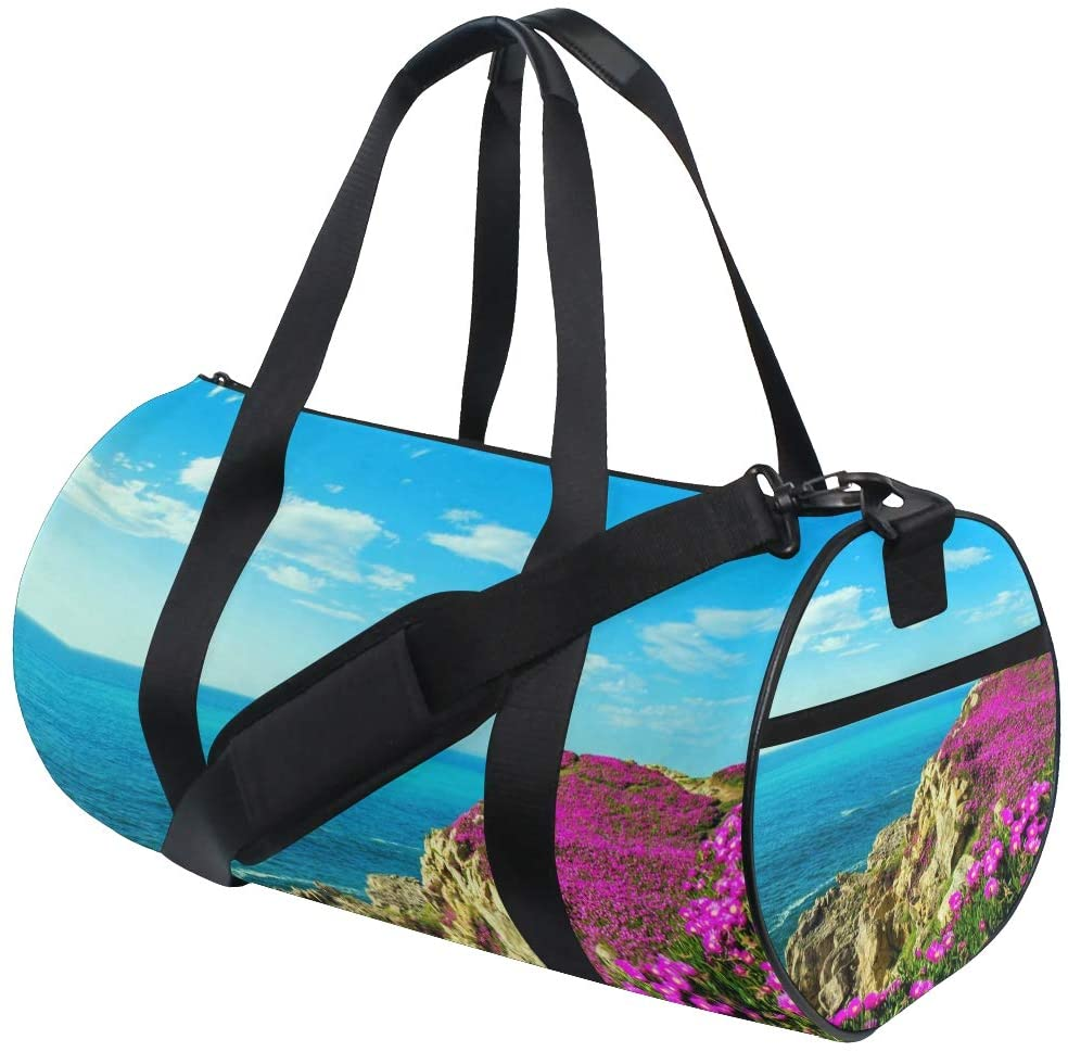 Brighter Purple Flowers Spring Coast Rocks Fitness Sports Bags Gym Bag Travel Duffel Bag for Mens and Womens
