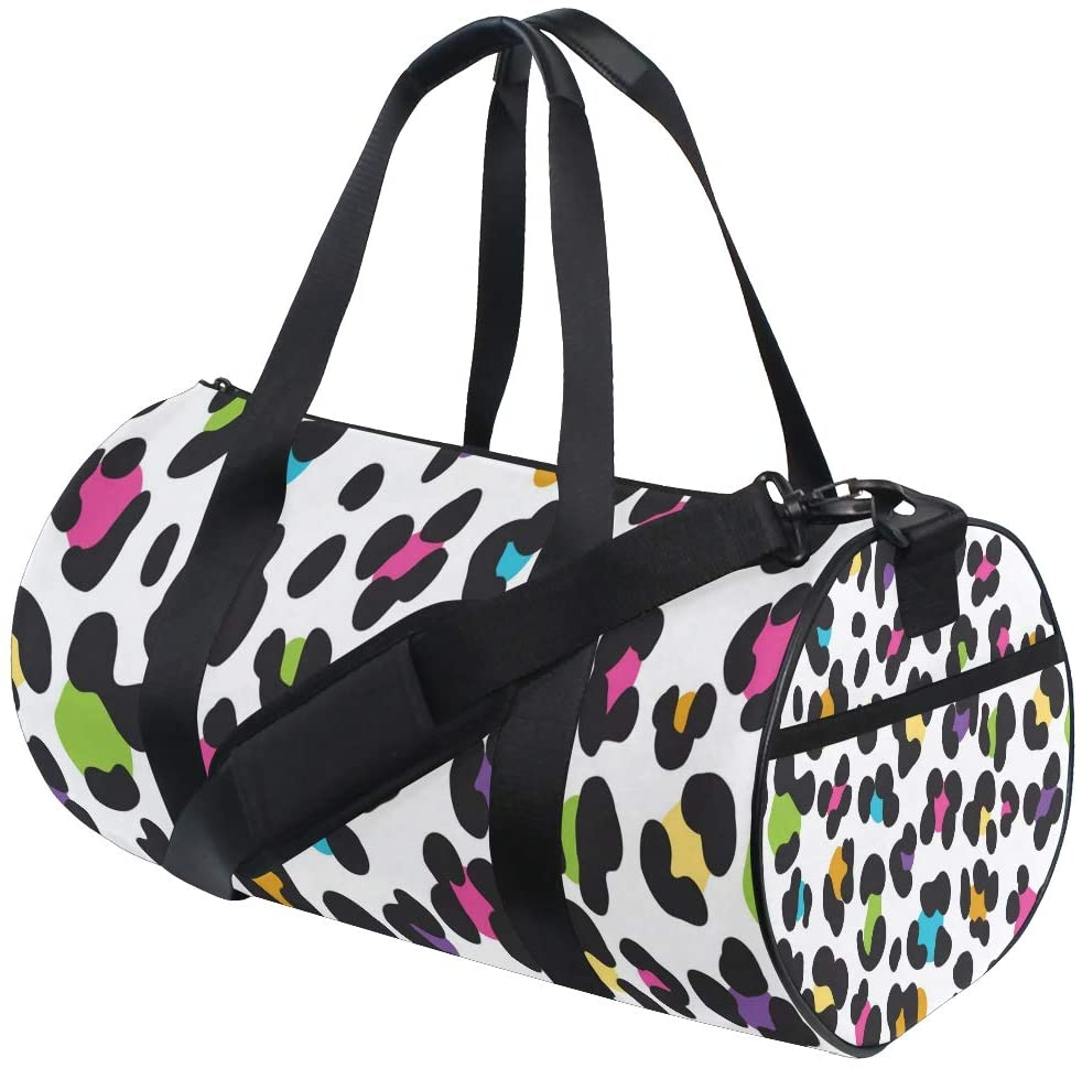 Foldable Duffle Bag Leopard Print Colorful Lightweight Travel Sports Gym Bags Overnight for Women Men