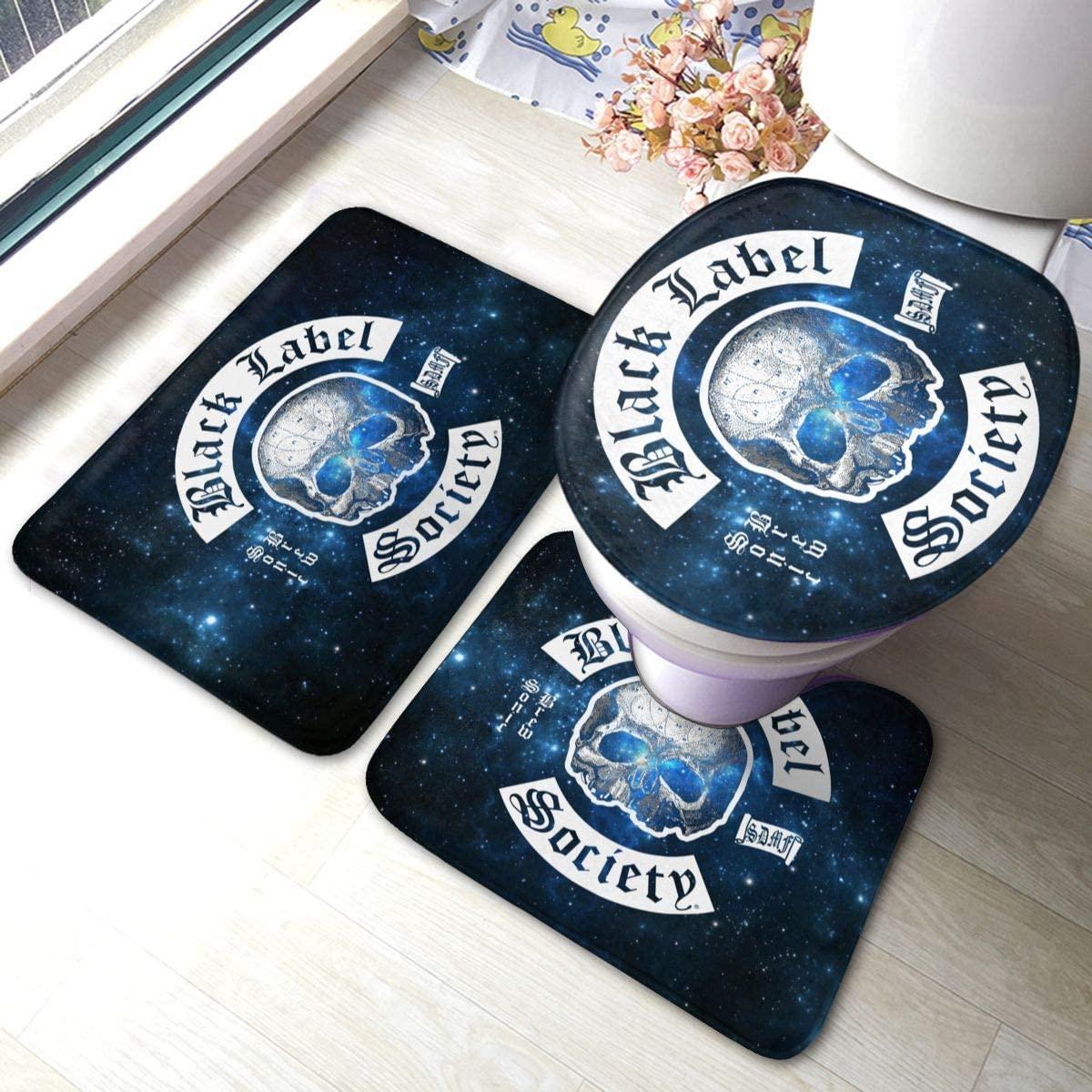 KatieTPappas Black Label Society Sonic Brew Durable Bathroom Rug Mats Set 3 Piece Anti-Skid Pads Bath Mat + Contour + Toilet Lid Cover