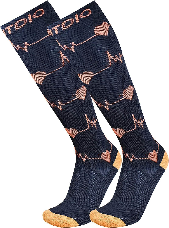 EKG Heartbeat Graduated 15-20mmHG Knee High Compression Socks For Men & Women, Black/Orange