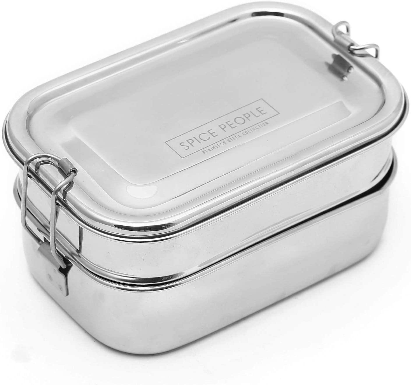Stainless Steel Tiffin Box - Steel Tiffin Lunch Box Kids - Bento Box Lunch Box - Rectangular Bento Box Stainless - Tiffin Box for Toddlers - Rectangle Tiffin Box - Two Tier Tiffin Box (18x12x7 cm)