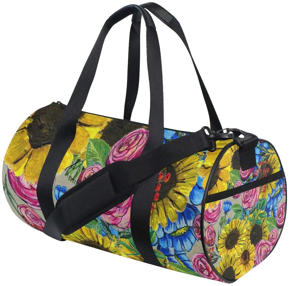 Foldable Duffle Bag Watercolor Sunflower Lightweight Travel Sports Gym Bags Overnight for Women Men