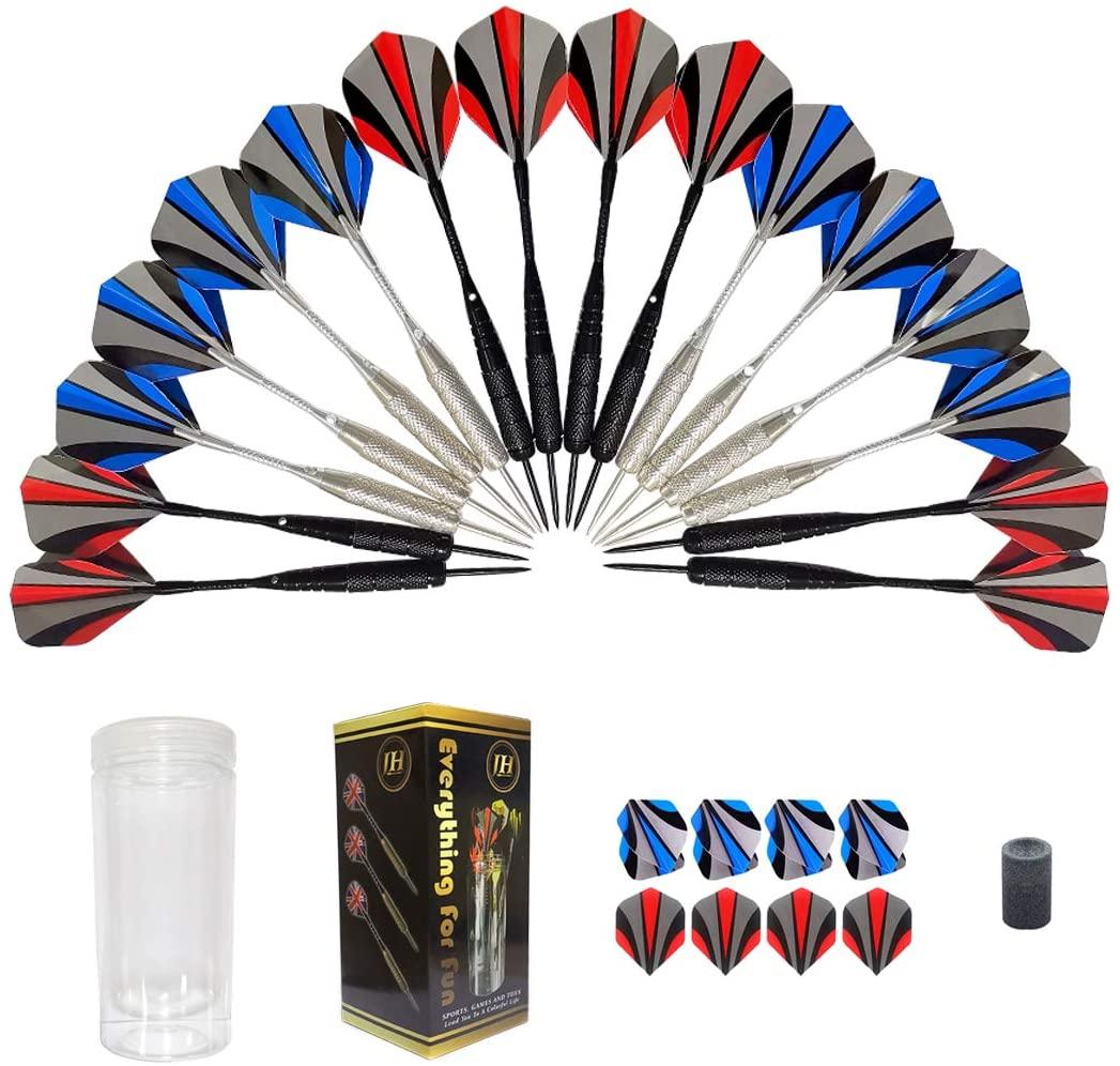 Darts,16 Pack Steel Tip Darts Set 22 Grams with Nonslip Iron Barrel, Aluminum Dart Shafts , and 2 Style Flights + Darts Sharpener +a Beautiful Gift Box