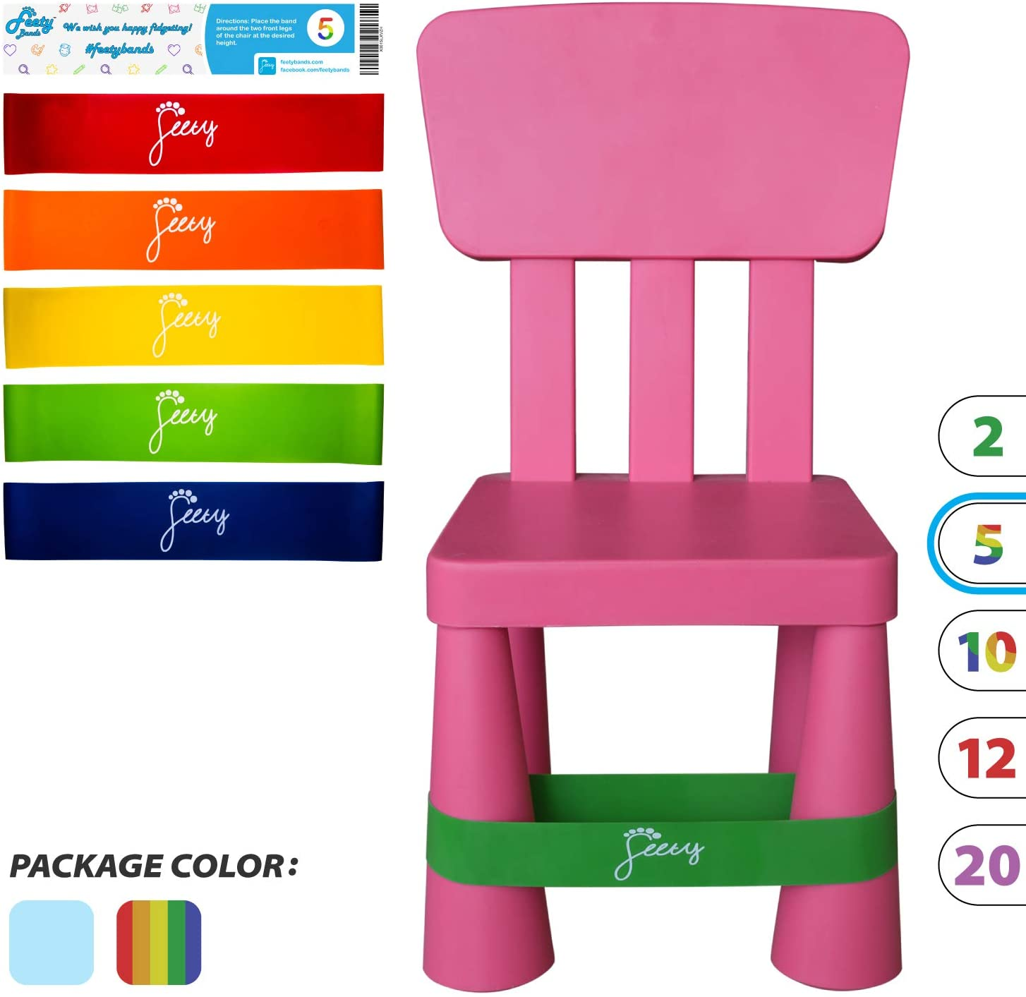 Feety Chair Bands for Kids – (5 Pack) ADHD Bouncy Kick Fidget for Elementary, Middle, High School Students and Fidgety Adults for Classroom Chairs and Desks (Red, Orange, Yellow, Green, Blue)