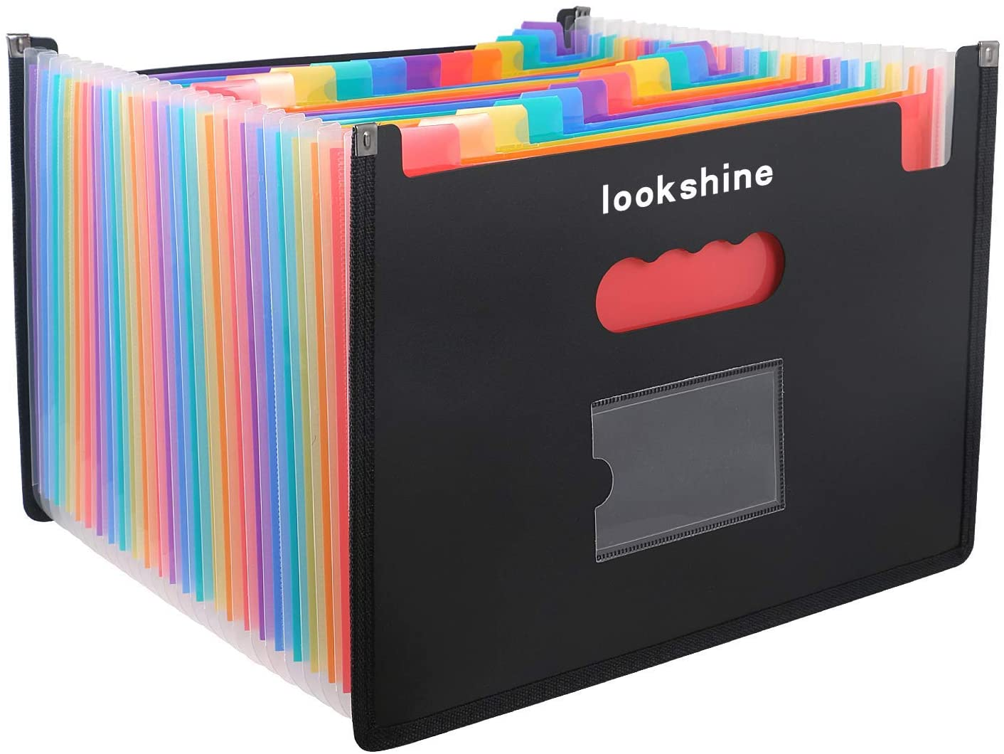 LOOKSHINE 24 Pockets Expanding File Folders, Portable Accordion A4 Expandable File Organizer, Large Capacity Multicolour Stand Plastic Business File Bag for Business/Office/Study