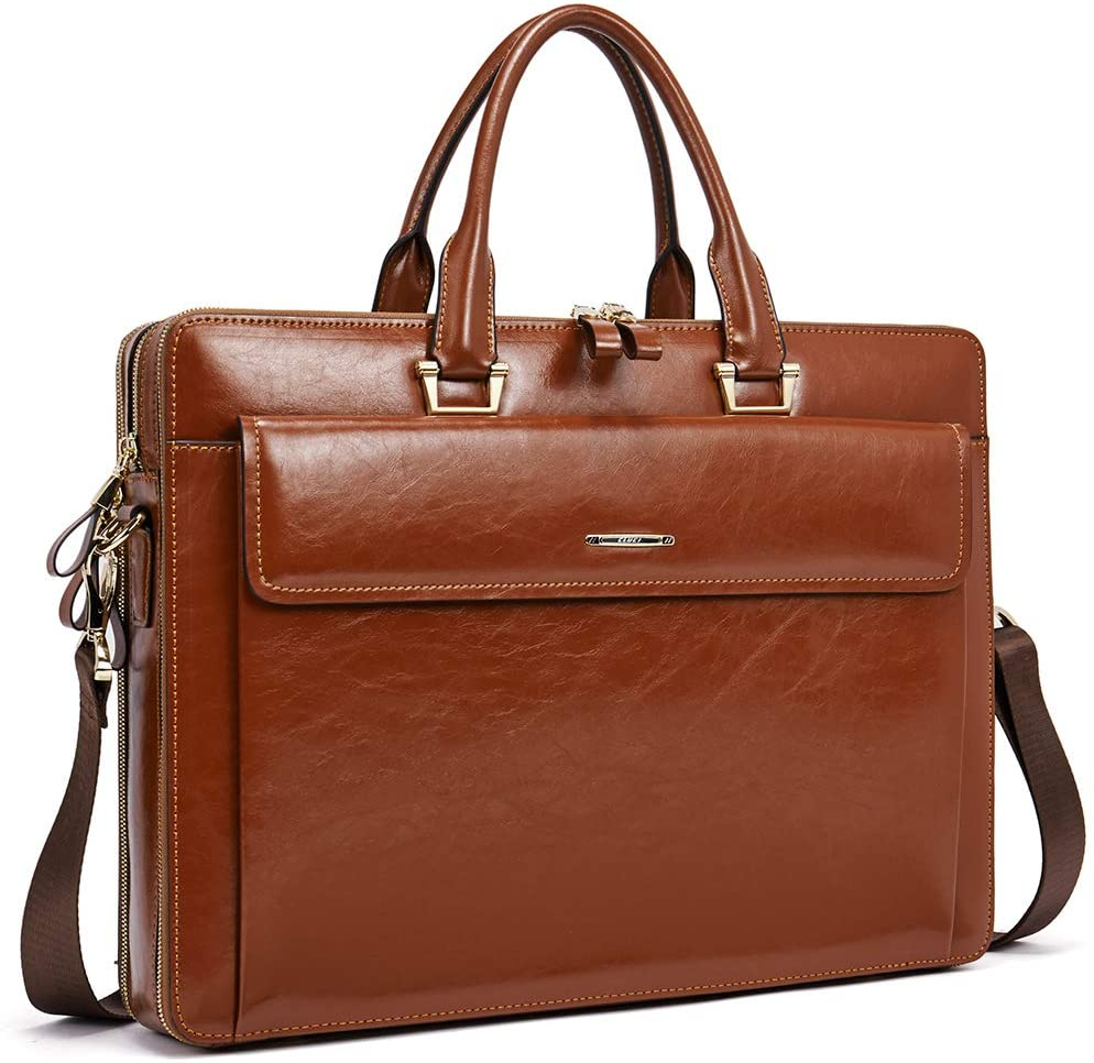 Women Oil Wax Leather Briefcases Slim Large Business 15.6