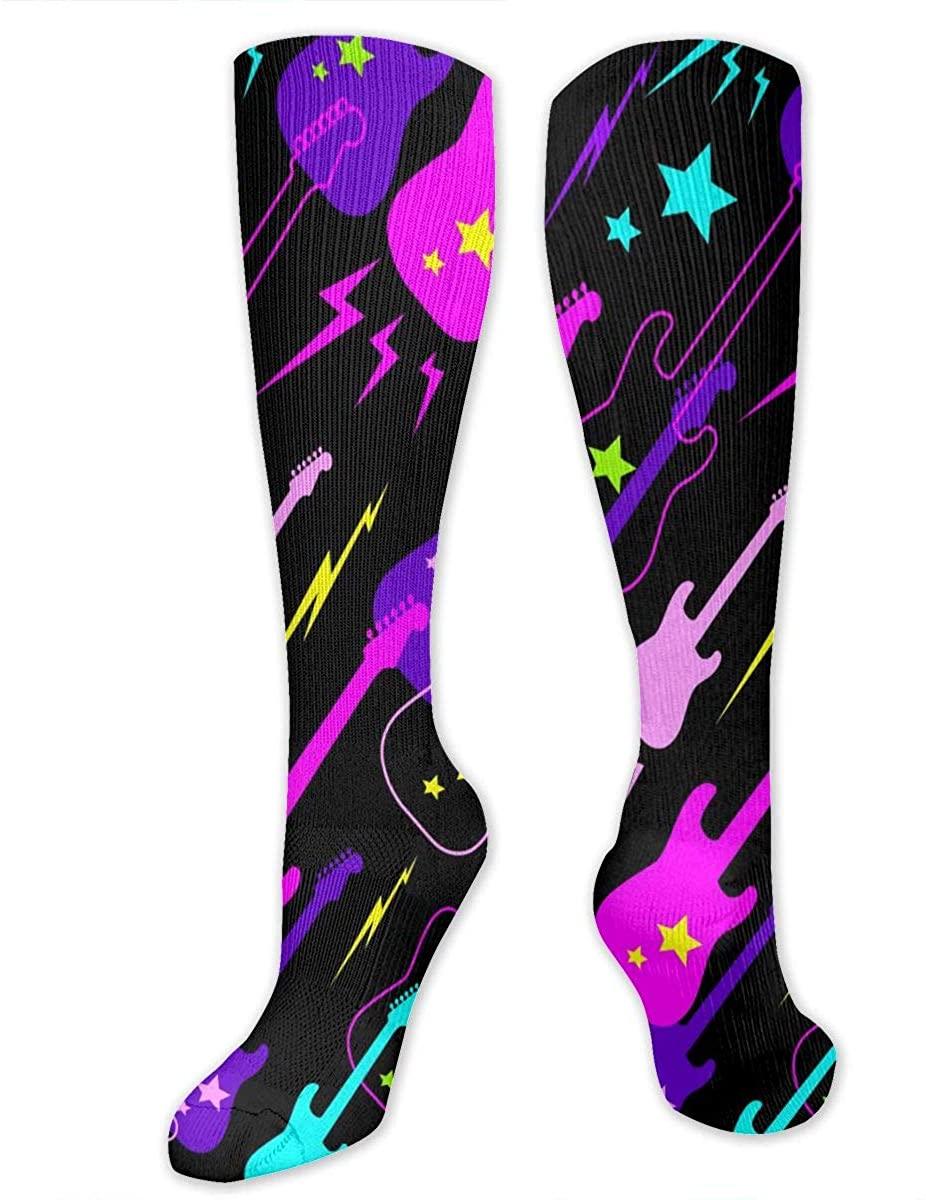 Pattern With Guitars Athletic Socks Thigh Stockings Over Knee Leg High Socks