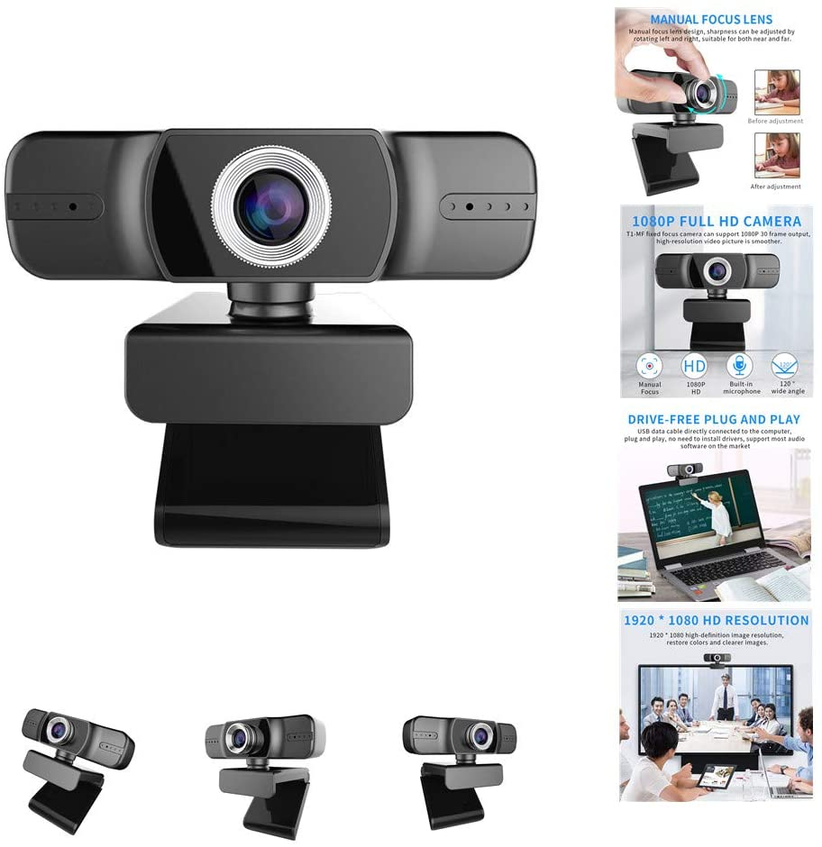 1080P HD Webcam with Microphone, Laptop Desktop PC Webcam, USB 2.0 Computer Camera, Widescreen Video Webcam for Recording, Calling, Conferencing, Gaming (for Windows,MSN,Android) (Manual Focus)