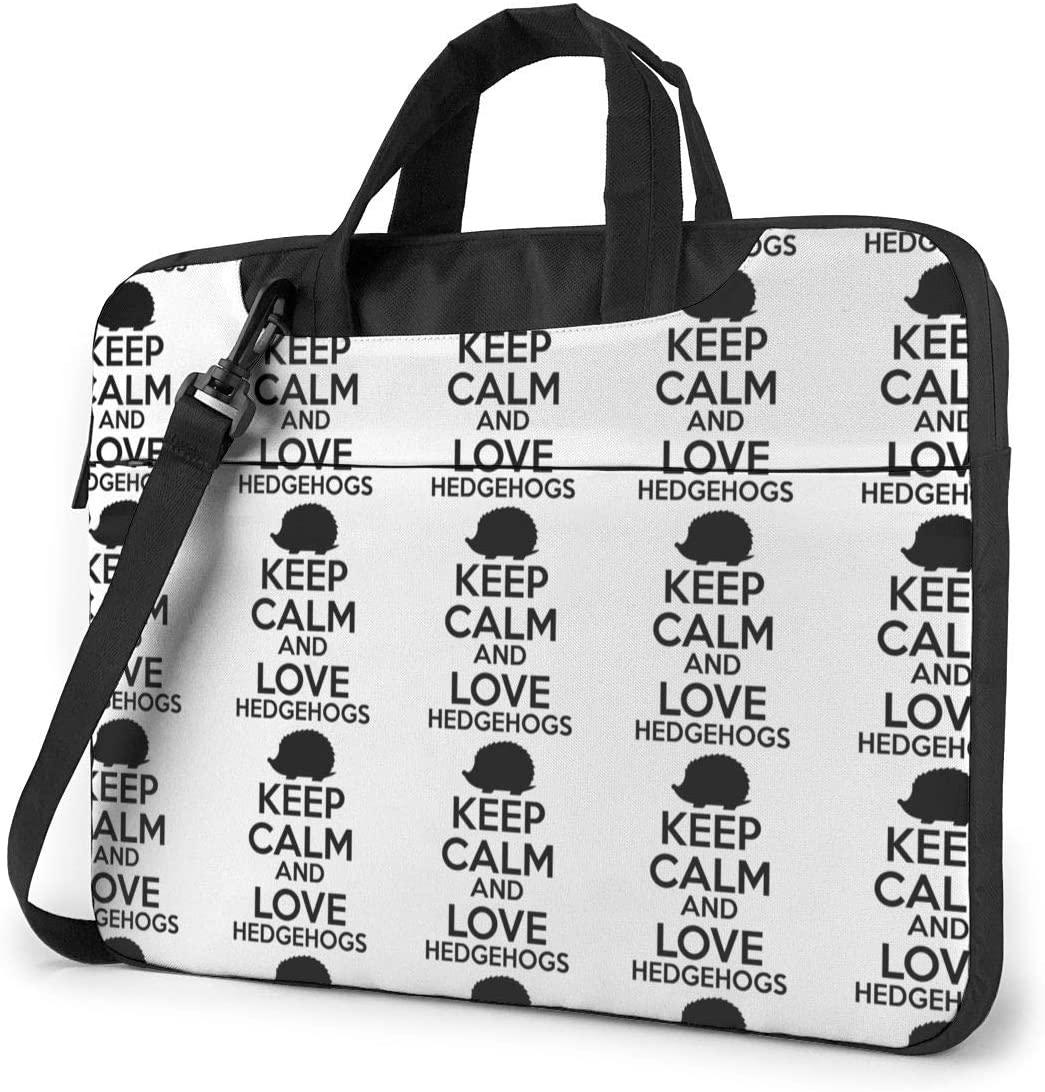Keep Calm and Love Hedgehogs Laptop Shoulder Bag with Handle Carrying Messenger Handbag