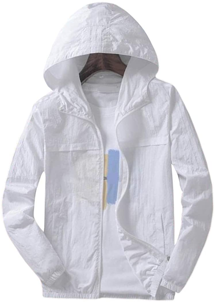 Men's Sun Protection Coats Jackets Hooded Thin Light Patchwork Waterproof Outwear