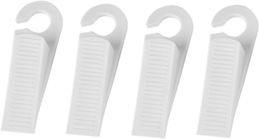 Kaptin 4 Pack Rubber Door Stopper,Door Stop Wedge with Hook (White)