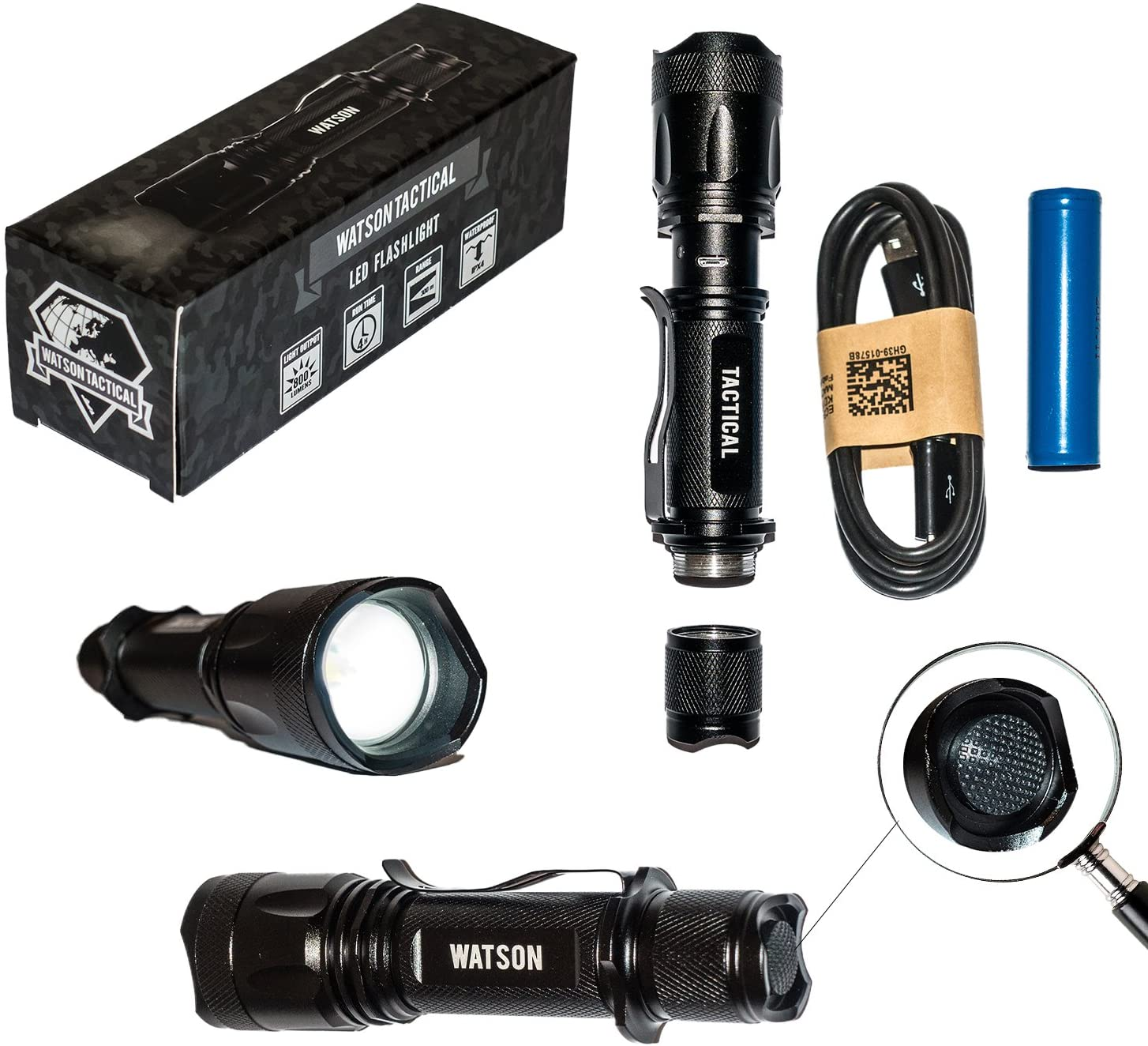 Watson T1000 Tactical LED Flashlight with Super Bright True 800 Lumen Light Output CREE LED, 5 Light Output Modes, Zoomable, USB Rechargable, Weather Resistant, 18650 Battery Included