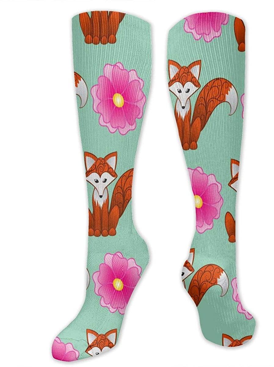Fox And Flowers Athletic Socks Thigh Stockings Over Knee Leg High Socks