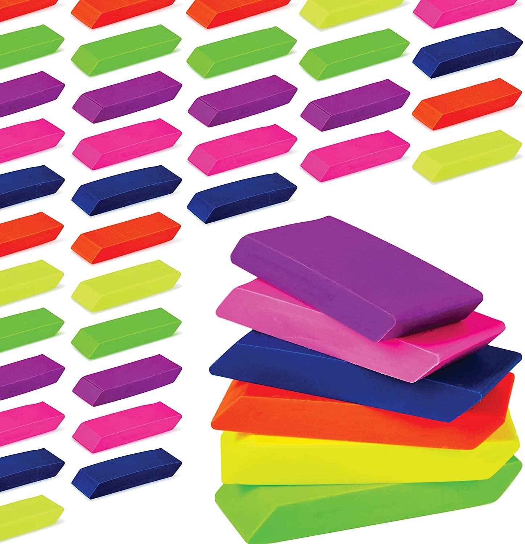 Incredible Value Premium Pencil Erasers Bright Neon Chiseled Erasers Bulk 48 Pack