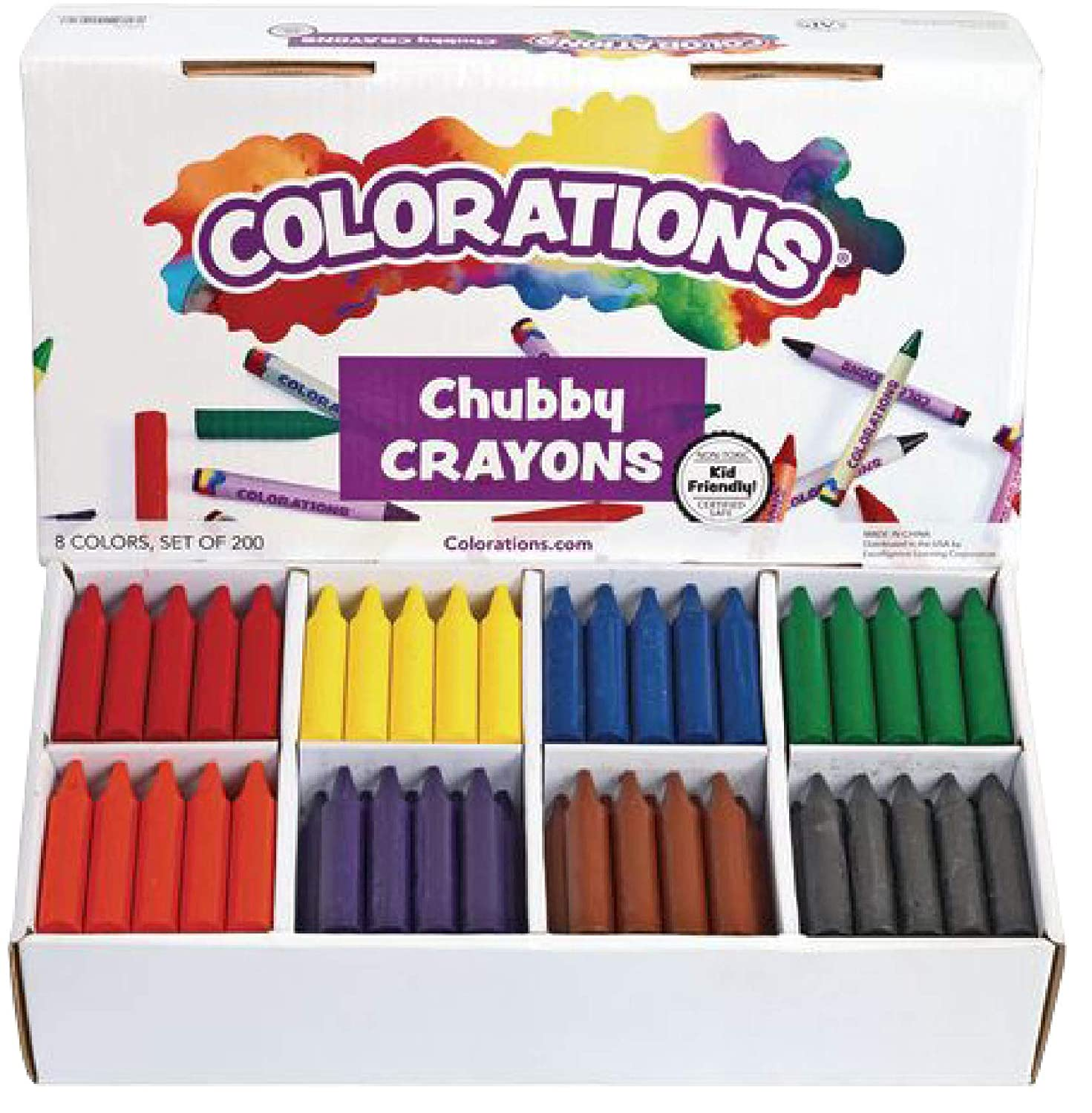 Colorations Chubby Crayons for Kids Set of 200 Rainbow Crayons Classroom Supplies (2-11/16